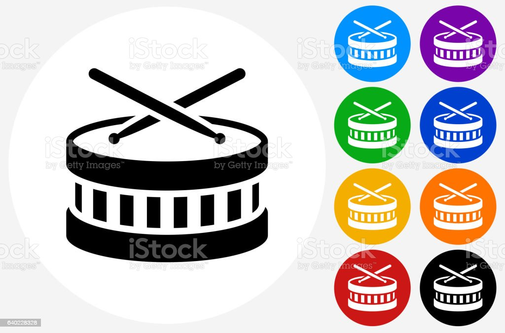 Drums Icon on Flat Color Circle Buttons - Illustration vectorielle
