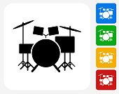 Drums Instrument Icon. This 100% royalty free vector illustration features the main icon pictured in black inside a white square. The alternative color options in blue, green, yellow and red are on the right of the icon and are arranged in a vertical column.