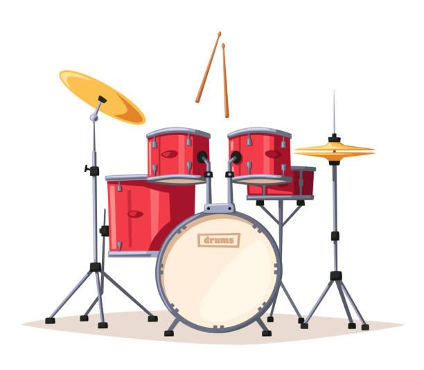 stockillustraties, clipart, cartoons en iconen met drums. rockmuziek. cartoon vectorillustratie. - slaginstrument