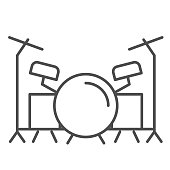 Drums thin line icon, Music festival concept, drum set sign on white background, Drum kit icon in outline style for mobile concept and web design. Vector graphics