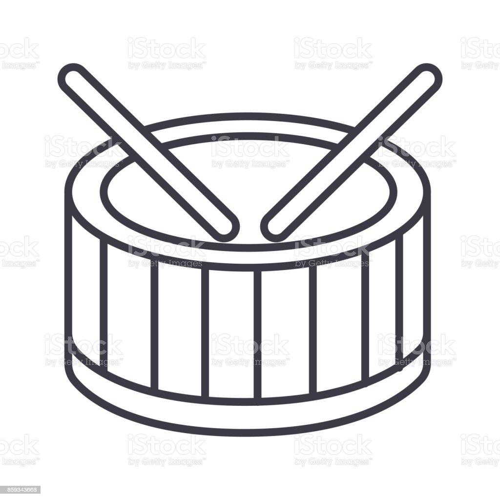 drums vector line icon, sign, illustration on background, editable strokes vector art illustration