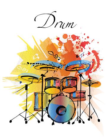 Drums Watercolor vector