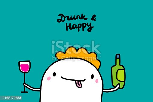 istock Drunk and happy hand drawn vector illustration in cartoon style. Cute man holding bottle and glass of wine 1162172653