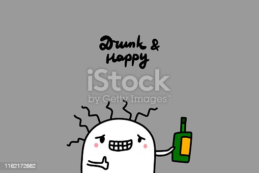 istock Drunk and happy hand drawn vector illustration in cartoon style. Cute man holding bottle 1162172662