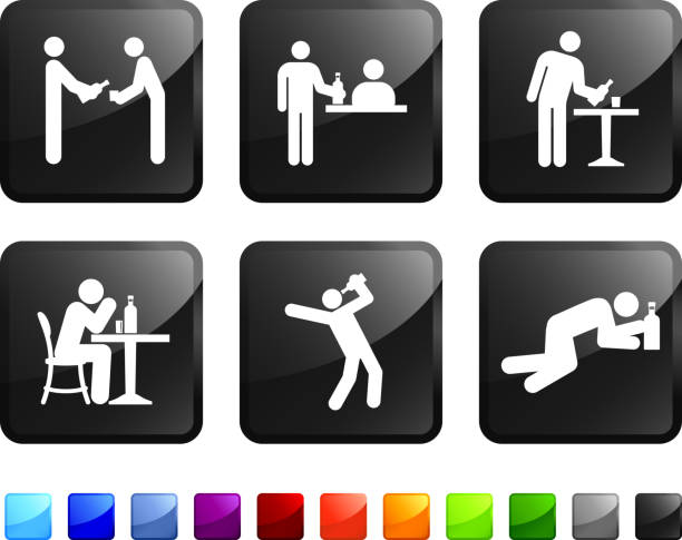 betrunken in der bar lizenzfreie vektor icon-set - ohnmacht stock-grafiken, -clipart, -cartoons und -symbole