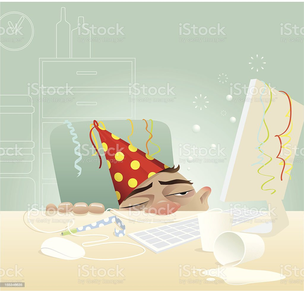 Borracho en la oficina de Navidad - ilustración de arte vectorial