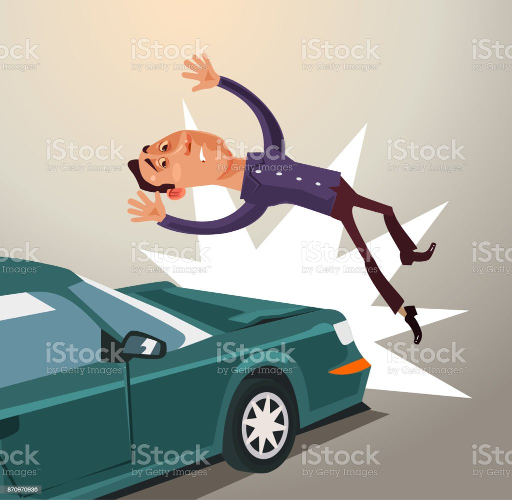 Drunk driver hit man by car. Road accident concept vector art illustration