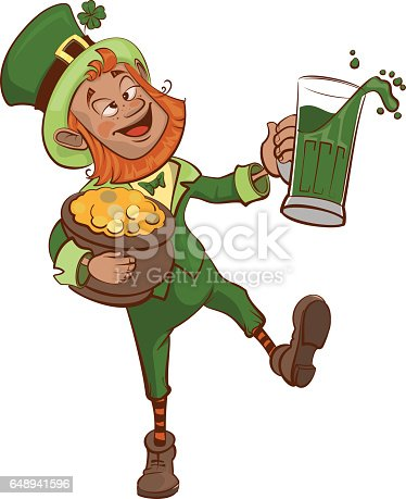 istock Drunk fun Patrick holds pot of gold and glass 648941596