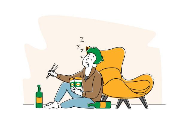 bildbanksillustrationer, clip art samt tecknat material och ikoner med drunk manlig karaktär med wok box i hand sova på golvet med alkoholflaskor, man alkoholist, alkoholism addiction - endast en man