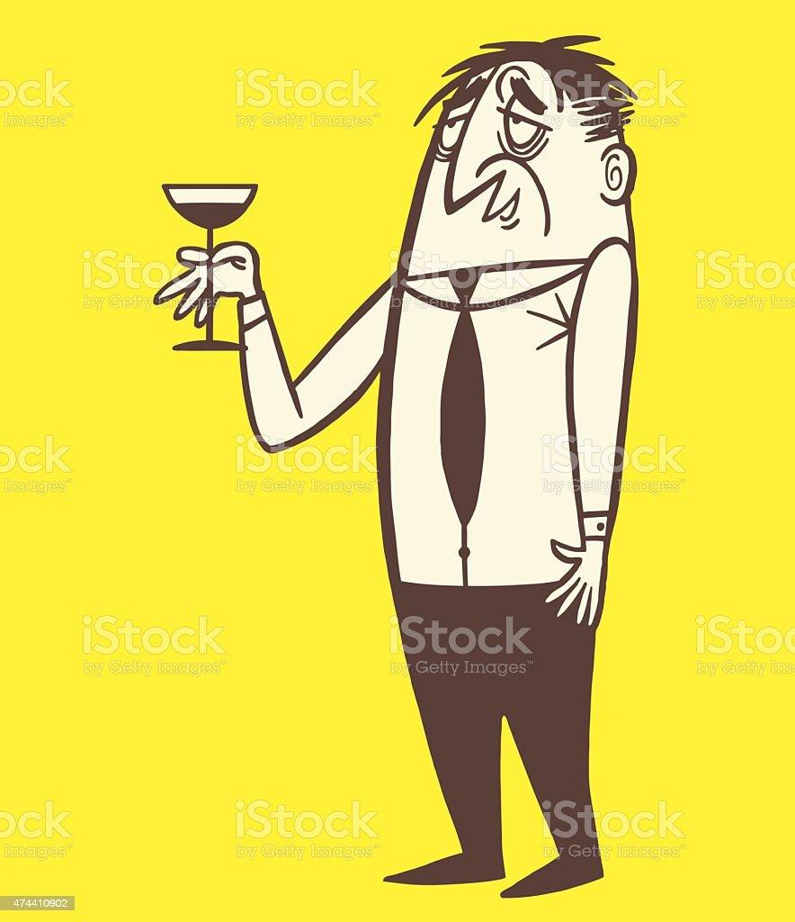 Drunk Man Holding Cocktail vector art illustration