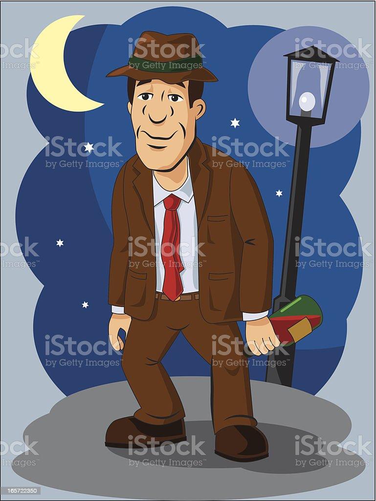drunk man vector art illustration