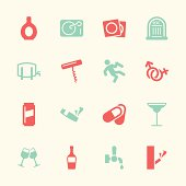 Drunk Party Icons Set 2 Color Series Vector EPS10 File.
