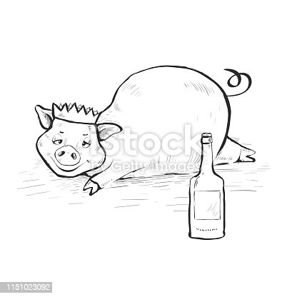 Drunk pig lies in a dirty puddle. On the head cap. Hand-drawn. Cartoon.