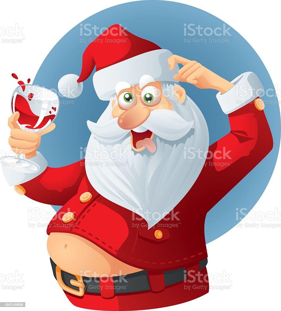Babbo Natale Ubriaco.Ubriaco Di Babbo Natale Vettoriale Fumetto Immagini Vettoriali