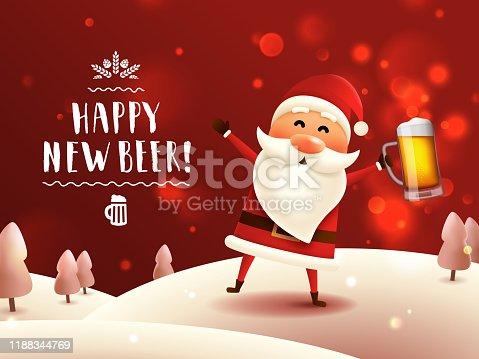 istock Drunk Santa with beer mug. 1188344769
