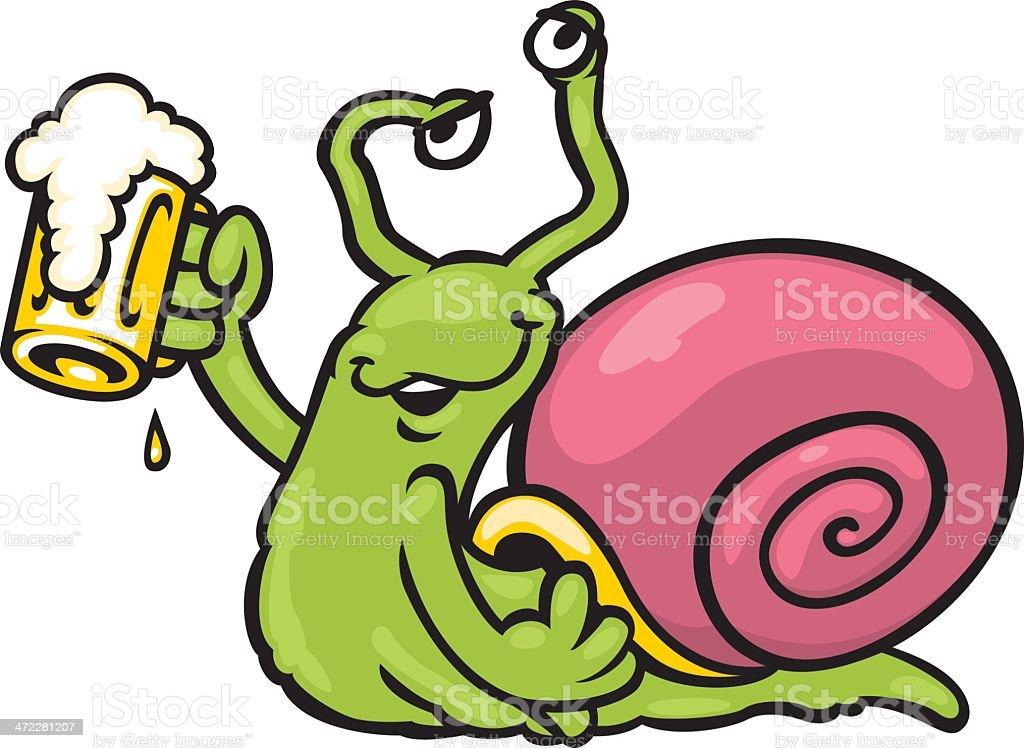drunk snail vector art illustration