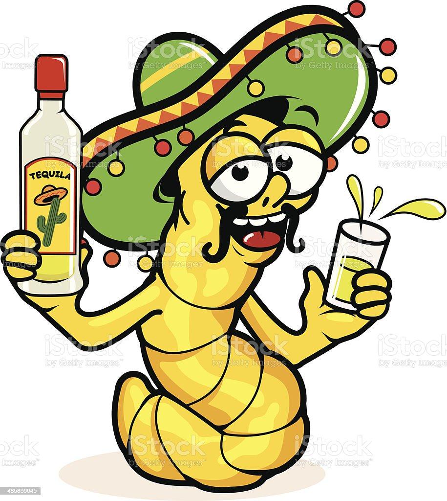 Drunk Tequila worm vector art illustration