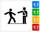 Drunk Test Icon. This 100% royalty free vector illustration features the main icon pictured in black inside a white square. The alternative color options in blue, green, yellow and red are on the right of the icon and are arranged in a vertical column.