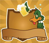 A vintage pub style sign with a rather inebriated duck/mallard.