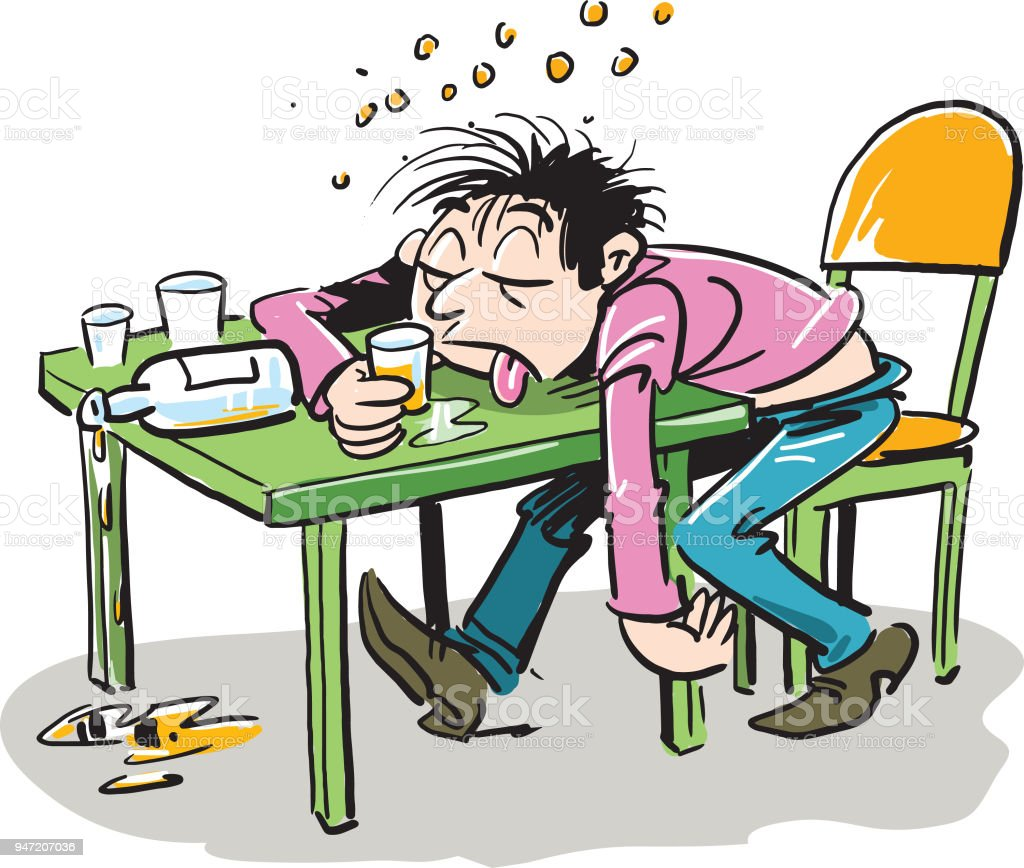 Drunken man sleeping on a table. Concept male alcoholism. Sleeping drunk human. Heavy alcohol intoxication vector art illustration