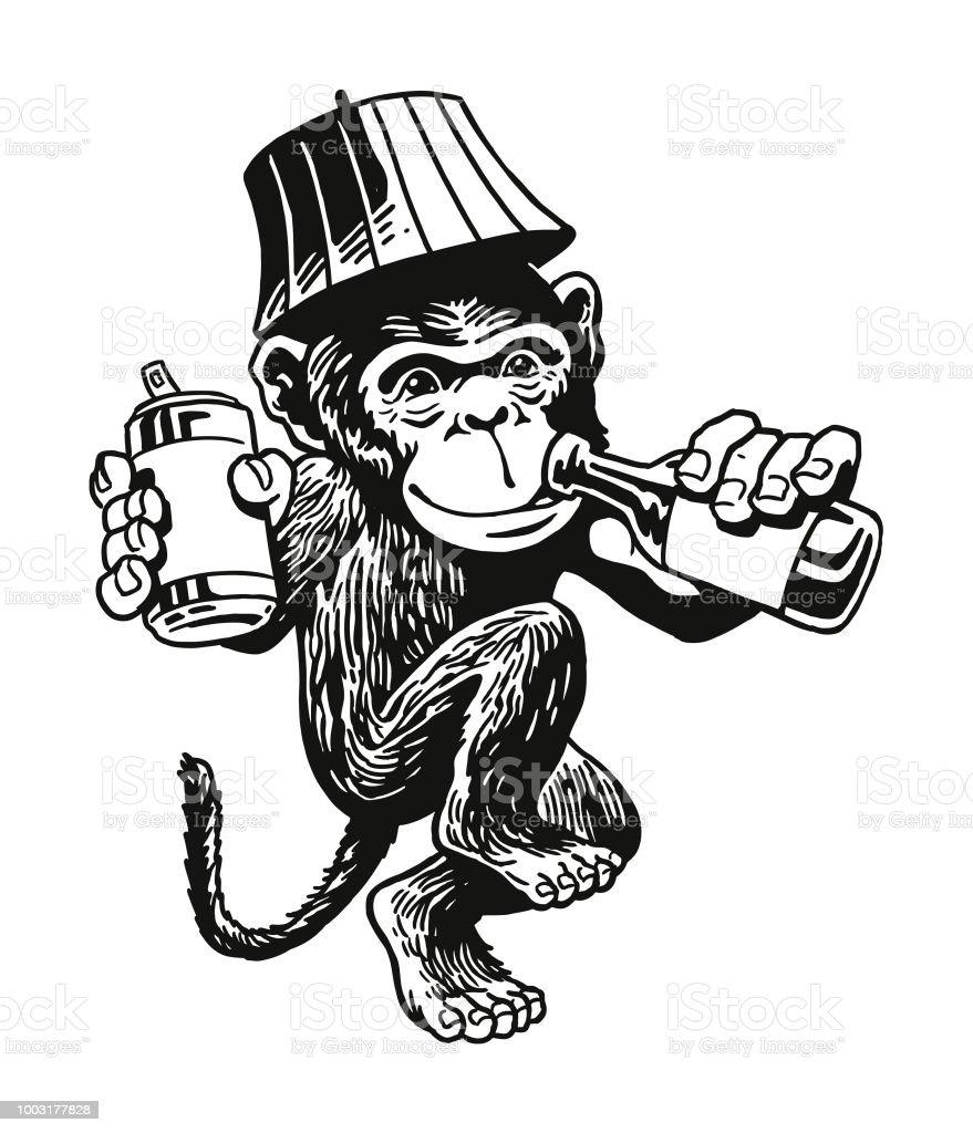 Drunken Monkey vector art illustration