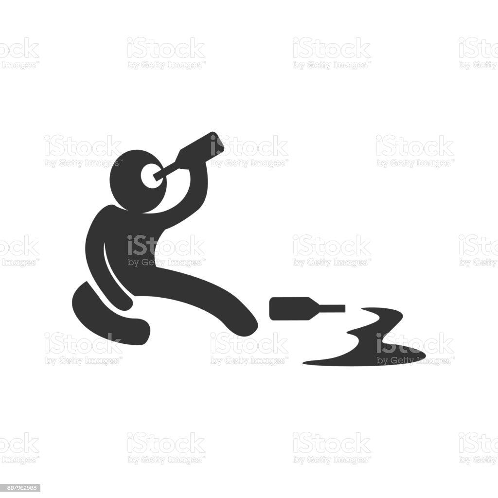 Drunken symbol black on white background vector art illustration