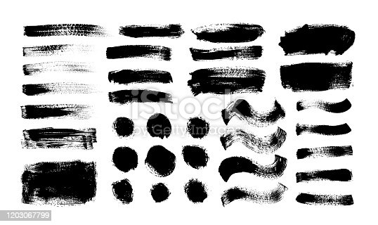 Dry brush strokes vector set. Hand drawn smears, dry stripes, brush lines, black circles and boxes. Grunge design elements isolated on white background. Abstract ink curve strokes textures.