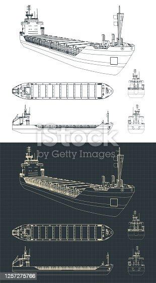 istock Dry cargo ship drawings 1257275766