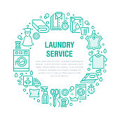 Dry cleaning, banner illustration with blue flat line icons. Laundry service equipment washing machine clothing leather repair, garment steaming. Circle template thin colored signs launderette poster