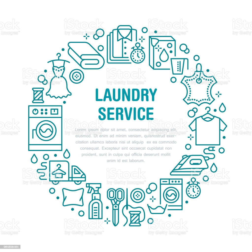 Dry cleaning, banner illustration with flat line icons. Laundry service equipment, washing machine clothing shoe leather repair, garment steaming. Circle template thin linear signs launderette poster royalty-free dry cleaning banner illustration with flat line icons laundry service equipment washing machine clothing shoe leather repair garment steaming circle template thin linear signs launderette poster stock vector art & more images of blue