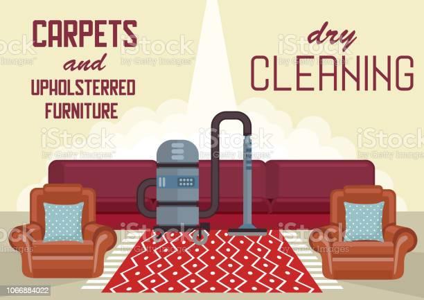 Ilustración De Limpieza De Alfombras Y Muebles Tapizados En Seco Y Más Vectores Libres De Derechos De Alfombra Istock