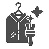 Dry cleaning clothes solid icon. Clothing service vector illustration isolated on white. Laundry glyph style design, designed for web and app. Eps 10