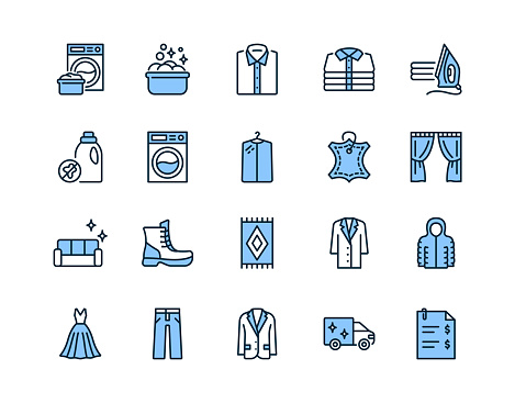 Dry cleaning flat line icon set blue color. Laundry service symbol. Editable strokes