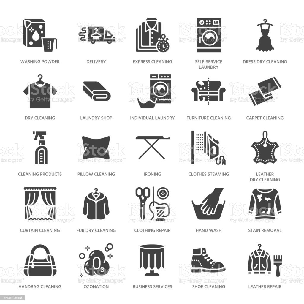 Dry Cleaning Laundry Flat Glyph Icons Launderette Service Equipment