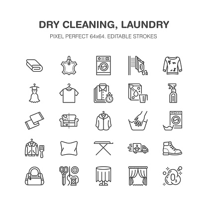 Dry cleaning, laundry flat line icons. Launderette service equipment, washer machine, shoe shine, clothes repair, garment ironing and steaming. Washing thin linear signs. Pixel perfect 64x64