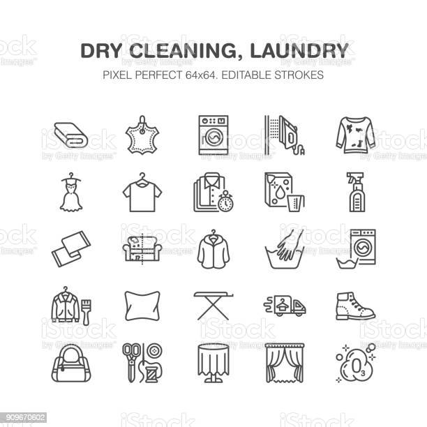 Dry cleaning laundry flat line icons launderette service equipment vector id909670602?b=1&k=6&m=909670602&s=612x612&h=7osmeoins wyozpz1asiey8ybsltz5pjndlt duzbjq=
