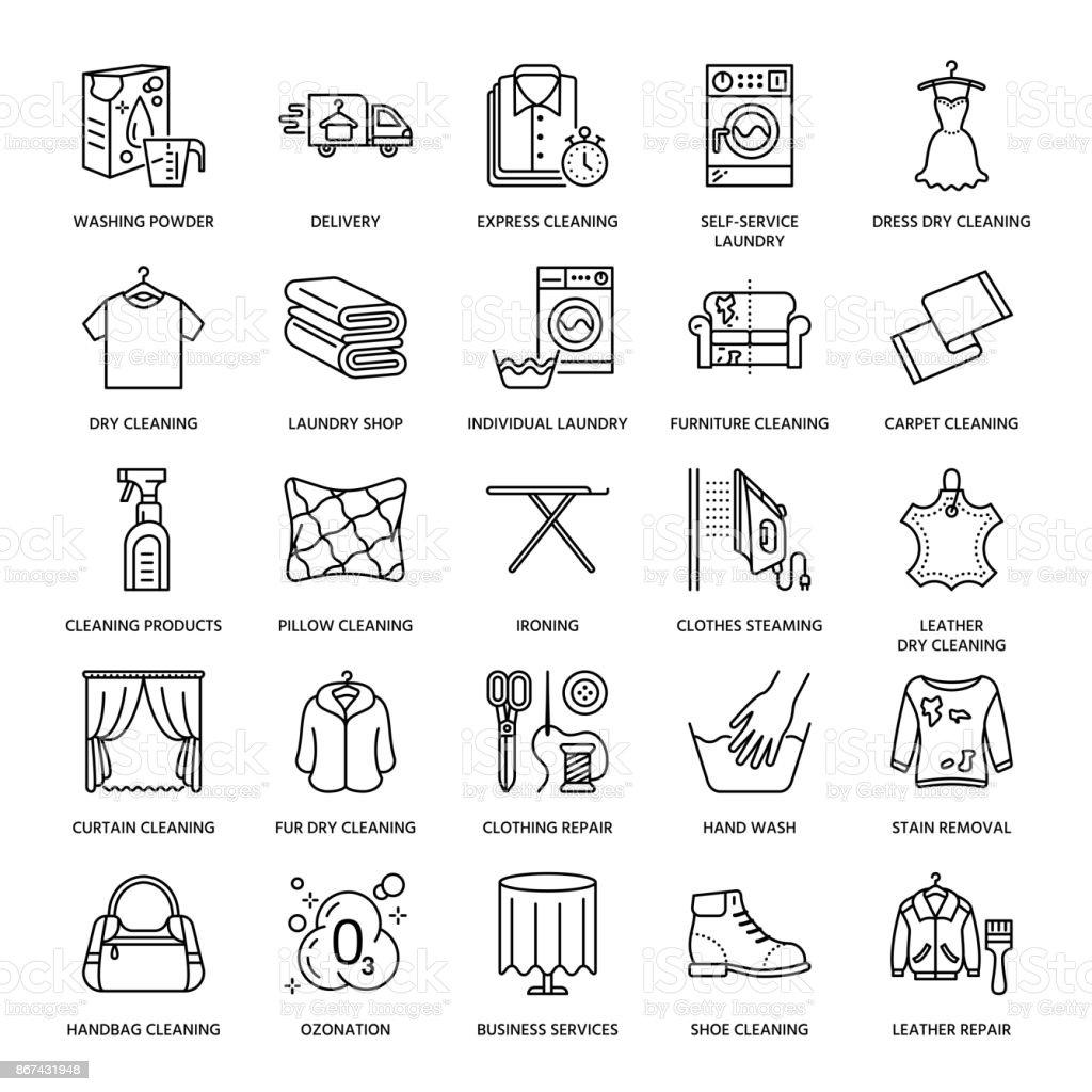 c195de7b79 Chemische Reinigung, Wäsche-Linie Symbole. Wäscherei-Service-Geräte,  Waschmaschine,