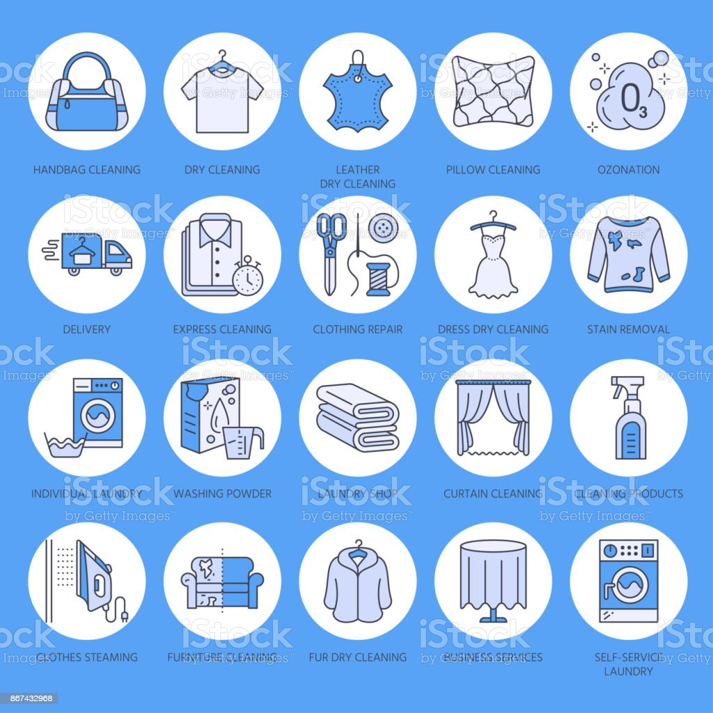 Dry Cleaning Laundry Line Icons Launderette Service Equipment