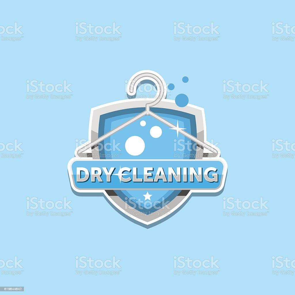 Dry cleaning logo emblem badge vector art illustration