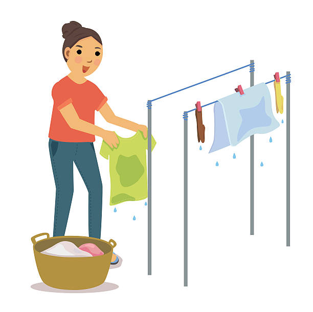 dry clothes Woman drying the clothes on clothesline. wet clothing women t shirt stock illustrations