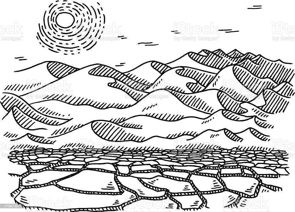 Dry Desert Landscape Sun Drawing vector art illustration