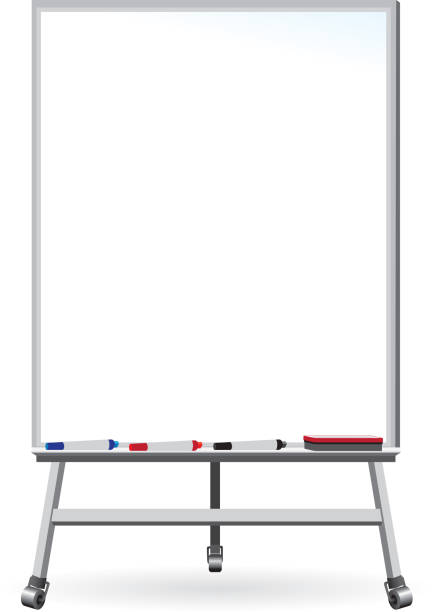 Dry Erase Board - Whiteboard with markers and eraser vector art illustration