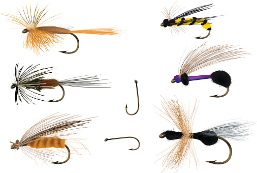 Dry flies on and with fishing hooks