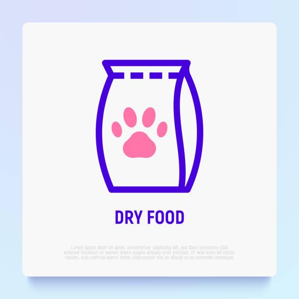 ilustrações de stock, clip art, desenhos animados e ícones de dry food packet with paw thin line icon. modern vector illustration for pet shop. - dog food