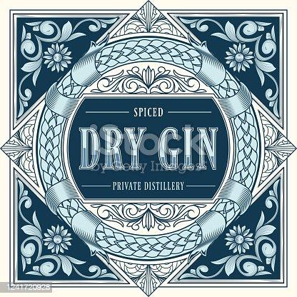 istock Dry gin - ornate vintage decorative label 1241720928