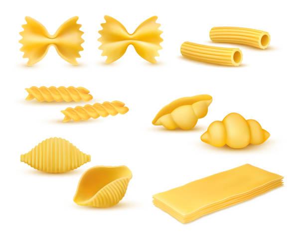 Dry macaroni various kinds set, pasta assortment, italian cuisine, pasta, farfalle, conchiglie, rigatoni, fusilli, gnocchi, lasagne. Realistic vector illustration isolated on white background conchiglie stock illustrations