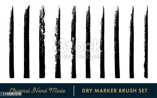 Dry Marker Vector Brush Set on the White Background