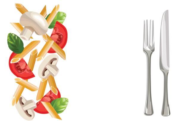bildbanksillustrationer, clip art samt tecknat material och ikoner med torr penne pasta med basilika, tomater, svamp, gaffel och kniv åt sidan - tagliatelle mushroom