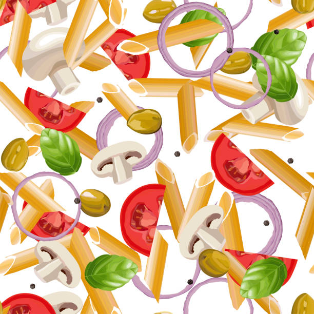 bildbanksillustrationer, clip art samt tecknat material och ikoner med torr penne pasta med basilika, tomater, svamp, lök och svartpeppar - tagliatelle mushroom