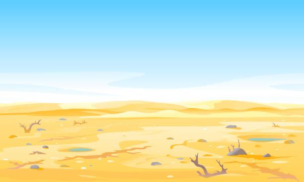 illustrations, cliparts, dessins animés et icônes de rivière sèche sur le sol desséché de sécheresse - desastre natural